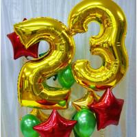 Сет шаров с гелием на 23 февраля с золотыми цифрами