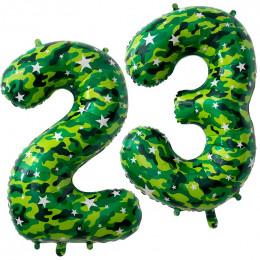 Шары-цифры на 23 февраля, камуфляжные, 86 см