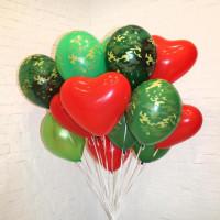 Букет шариков милитари с сердцами