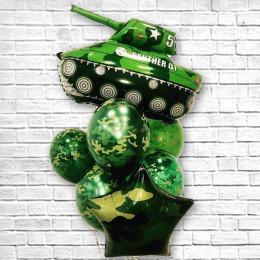 Букет шаров в стиле милитари с танком