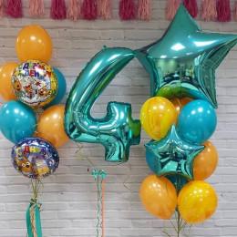 Композиция шаров на День Рождения Три Кота с цифрой
