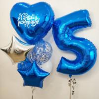 Сет шариков с вашими поздравлениями и синей цифрой