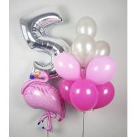 Сет воздушных шариков на День Рождения с фигурой фламинго и цифрой