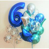 Композиция шаров на День Рождения с синей цифрой