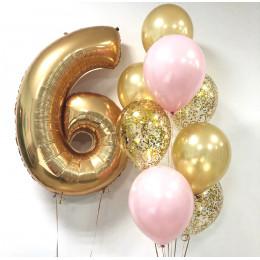 Сет розовых и золотых шаров на День Рождения с цифрой