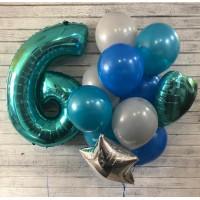Букет шаров с гелием на День Рождения и бирюзовая цифра