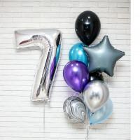 Сет шаров на День Рождения с серебряной цифрой
