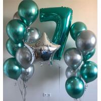 Композиция из шаров на День Рождения с вашими поздравлениями и бирюзовой цифрой