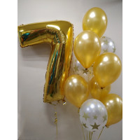 Сет шаров с золотой цифрой на День Рождения