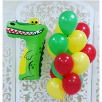 Букет разноцветных латексных шаров и цифра в виде зверушки