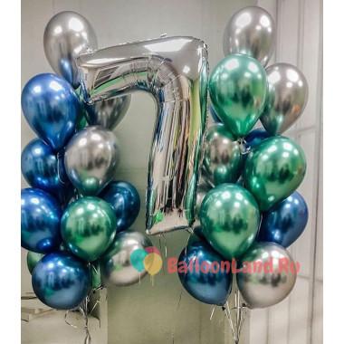 Композиция из двух фонтанов шариков хром и цифры