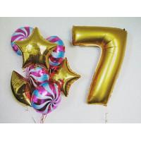 Сет фольгированных шаров с золотой цифрой