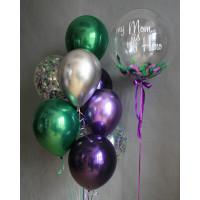 Сет шаров с вашими пожеланиями и шарами хром