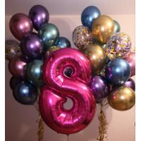 Яркая композиция из воздушных шаров хром с цифрой