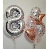 Сет шаров с гелием в подарок любимой на 8 марта