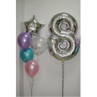 Сет шариков с серебряной цифрой на 8 марта