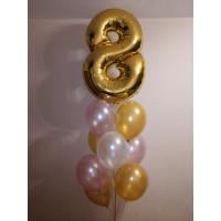 Фонтан шаров на восьмое марта с золотой цифрой