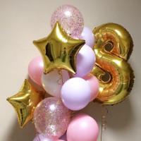 Букет шаров с гелием со звёздами и цифрой