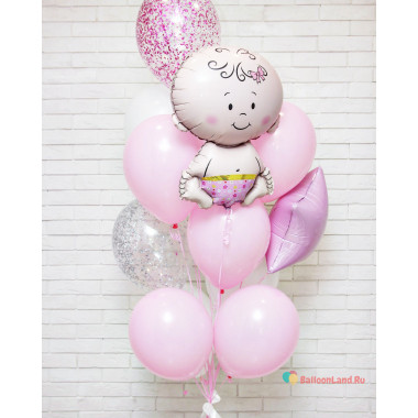 Букет воздушных шаров на выписку из роддома Малышка
