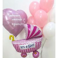 Композиция из воздушных шаров на рождения дочки с вашей надписью