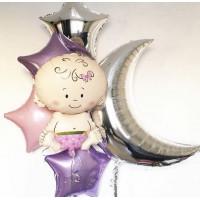 Сет шаров с гелием на выписку из роддома для девочки
