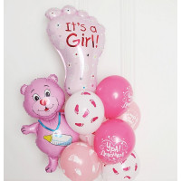 Букет ярких шаров на выписку из роддома для дочки