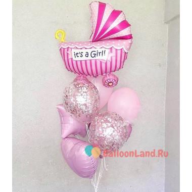 Букет воздушных шаров на выписку из роддома для девочки