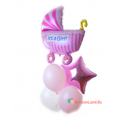 Букет шаров с гелием на выписку для доченьки