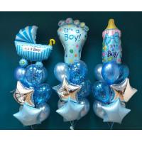 Композиция гелиевых шаров на выписку из роддома для мальчика