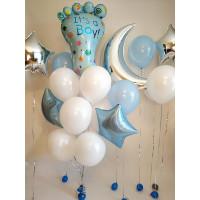Композиция из воздушных шаров на выписку из роддома для сыночка