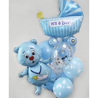 Букет воздушных шаров Мишка на выписку малыша