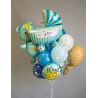 Букет гелиевых шаров на выписку малыша из роддома