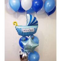 Композиция из воздушных шаров на выписку сына