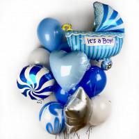 Облако шаров с гелием на выписку из роддома для сынишки