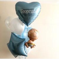 Букет воздушных шаров на выписку малыша с вашей надписью