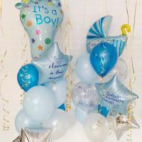 Сет шаров с гелием на выписку из роддома мальчика с вашими надписями