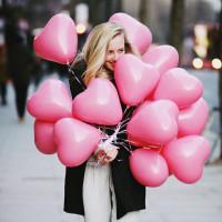 Гелиевые шары на 14 февраля сердца розовые, 30 см