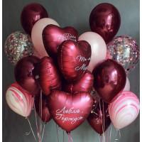Сет из гелиевых шаров с сердцами с индивидуальными надписями