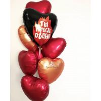 Букет из гелиевых шариков с сердцами, на 14 февраля