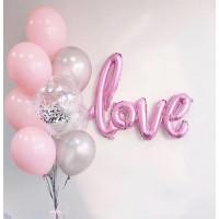 """Композиция из шаров нежно-розовая """"С любовью"""""""
