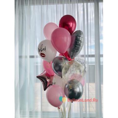 Букет из воздушных шариков со звездой сердцем и шарами с поцелуями на День Валентина