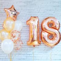 Композиция из воздушных шаров золотые 18 лет