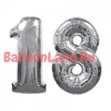 Комплект цифр 18 серебряного цвета с гелием