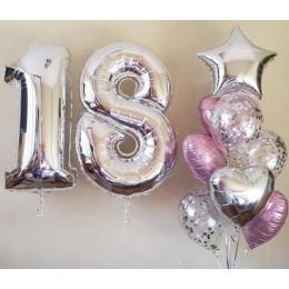 Композиция из шаров Серебряные 18 лет - дополнительное фото #1