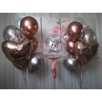 Композиция из шаров девушке с шаром с перьями и сердцами с вашими поздравлениями