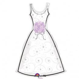 Фигурный шар Свадебное платье (белое)