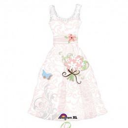 Фигурный шар Свадебное платье (розовое)