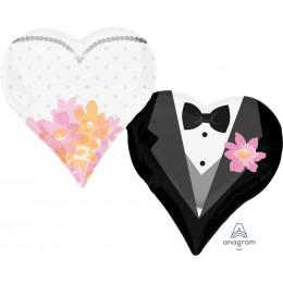 Фигурный шар Жених и невеста в форме сердца