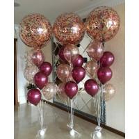 Композиция из воздушных шариков из трех фонтанов с большими шарами с конфетти
