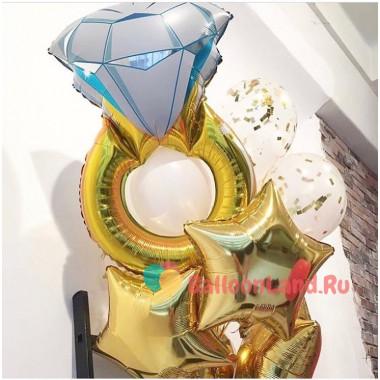 Букет из шаров с кольцом и звездами на свадьбу